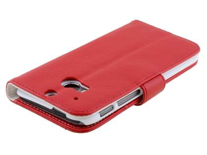 HTC One M8 Synthetic Leather Wallet Case with Stand - Red
