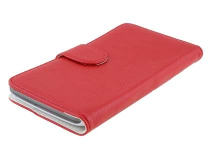 LG G Flex Slim Synthetic Leather Wallet Case with Stand - Red