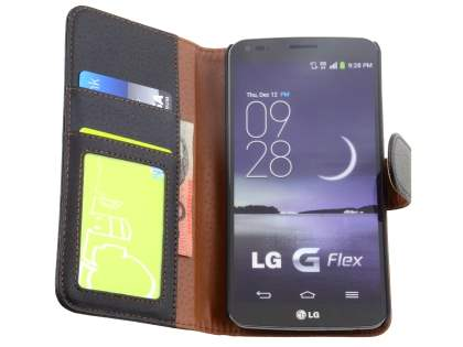 Synthetic Leather Wallet Case with Stand for LG G Flex - Classic Black