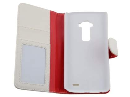 Synthetic Leather Wallet Case with Stand for LG G Flex - Pearl White