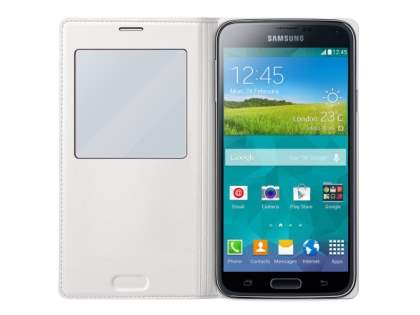 Genuine Samsung Galaxy S5 S-View Premium Cover Case - Pearl White