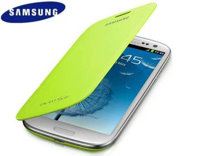 Genuine Samsung Flip Cover for Samsung I9300 Galaxy S3 - Mint Leather Case