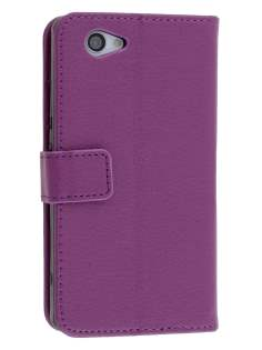 Synthetic Leather Wallet Case with Stand for Sony Xperia Z1 Compact - Purple Leather Wallet Case