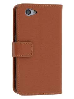 Synthetic Leather Wallet Case with Stand for Sony Xperia Z1 Compact - Brown Leather Wallet Case