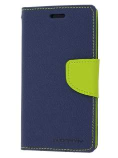Mercury Colour Fancy Diary Case with Stand for Sony Xperia Z1 Compact - Navy/Lime