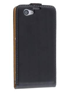 Sony Xperia Z1 Compact Slim Genuine Leather Flip Case - Classic Black
