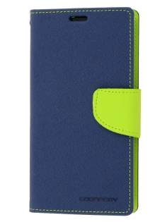 Mercury Goospery Colour Fancy Diary Case with Stand for Sony Xperia Z1 - Mint/Navy Leather Wallet Case