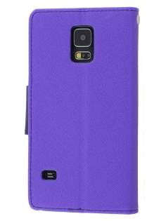 Mercury Colour Fancy Diary Case with Stand for Samsung Galaxy S5 - Purple/Navy