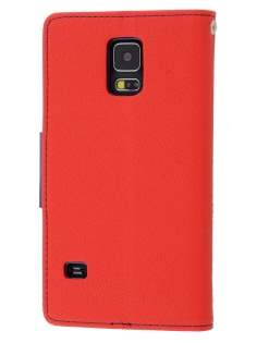 Mercury Colour Fancy Diary Case with Stand for Samsung Galaxy S5 - Red/Navy