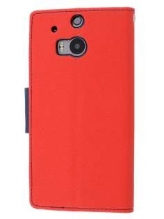 Mercury Goospery Colour Fancy Diary Case with Stand for HTC One M8 - Red/Navy