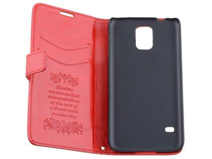 Samsung Galaxy S5 Slim Synthetic Leather Wallet Case with Stand - Red