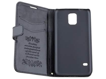 Samsung Galaxy S5 Slim Synthetic Leather Wallet Case with Stand - Classic Black