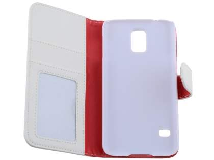 Samsung Galaxy S5 Synthetic Leather Wallet Case with Stand - Pearl White