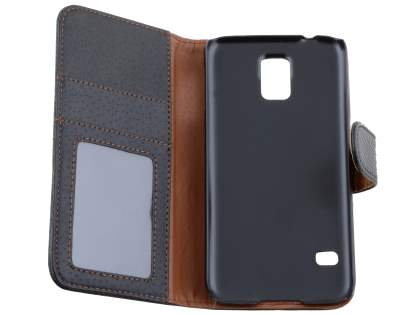 Synthetic Leather Wallet Case with Stand for Samsung Galaxy S5 - Classic Black