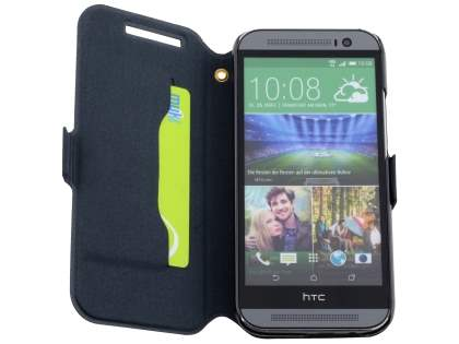 Slim Genuine Leather Portfolio Case for HTC One M8 - Classic Black