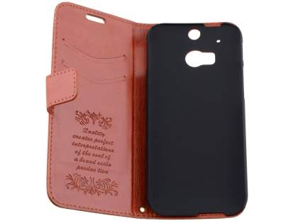 HTC One M8 Slim Synthetic Leather Wallet Case with Stand - Brown