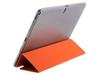 Book-Style Case with Stand for Samsung Galaxy Tab Pro 10.1 - Orange/Frosted Clear Leather Flip Case