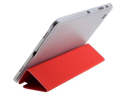 Book-Style Case with Stand for Samsung Galaxy Tab Pro 8.4 - Red/Frosted Clear Leather Flip Case