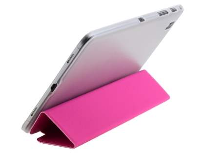 Book-Style Case with Stand for Samsung Galaxy Tab Pro 8.4 - Hot Pink/Frosted Clear Leather Flip Case