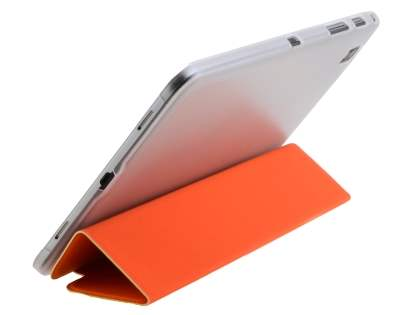 Book-Style Case with Stand for Samsung Galaxy Tab Pro 8.4 - Orange/Frosted Clear Leather Flip Case