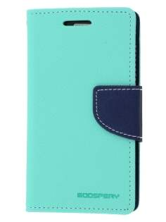 Mercury Goospery Colour Fancy Diary Case with Stand for Samsung Galaxy Trend Plus S7583T - Mint/Navy