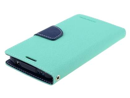 Mercury Goospery Colour Fancy Diary Case with Stand for Samsung Galaxy S5 - Mint/Navy