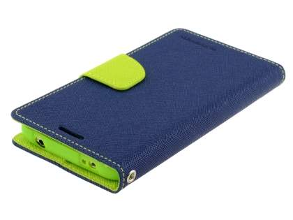 Mercury Goospery Colour Fancy Diary Case with Stand for Samsung Galaxy S5 - Navy/Lime