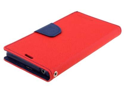 Mercury Colour Fancy Diary Case with Stand for Sony Xperia Z1 - Red/Navy
