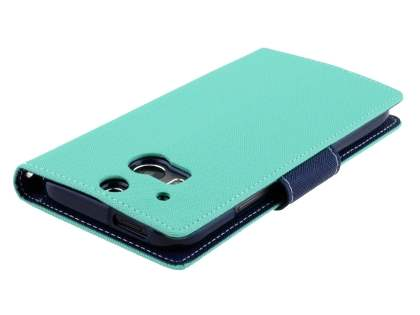Mercury Colour Fancy Diary Case with Stand for HTC One M8 - Mint/Navy