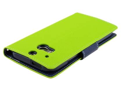 Mercury Goospery Colour Fancy Diary Case with Stand for HTC One M8 - Lime/Navy