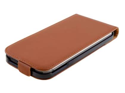 Slim Genuine Leather Flip Case for HTC One M8 - Brown