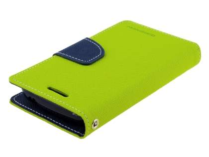 Mercury Colour Fancy Diary Case with Stand for Samsung Galaxy Trend Plus S7583T - Lime/Navy