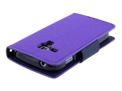 Mercury Goospery Colour Fancy Diary Case with Stand for Samsung Galaxy Trend Plus S7583T - Purple/Navy