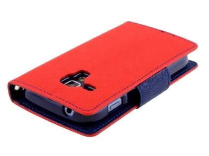 Mercury Colour Fancy Diary Case with Stand for Samsung Galaxy Trend Plus S7583T - Red/Navy