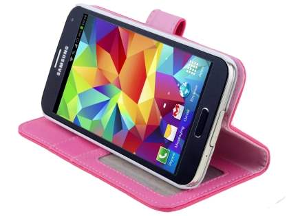Synthetic Leather Wallet Case with Stand for Samsung Galaxy S5 - Hot Pink
