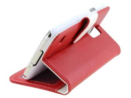 Synthetic Leather Wallet Case with Stand for Samsung Galaxy S5 - Red