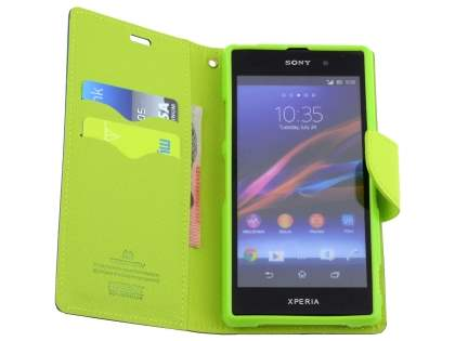 Mercury Colour Fancy Diary Case with Stand for Sony Xperia Z1 - Mint/Navy