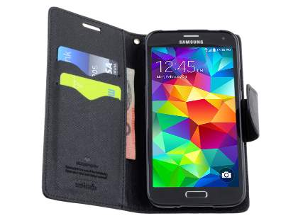 Mercury Goospery Colour Fancy Diary Case with Stand for Samsung Galaxy S5 - Classic Black
