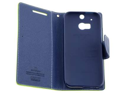 Mercury Colour Fancy Diary Case with Stand for HTC One M8 - Lime/Navy