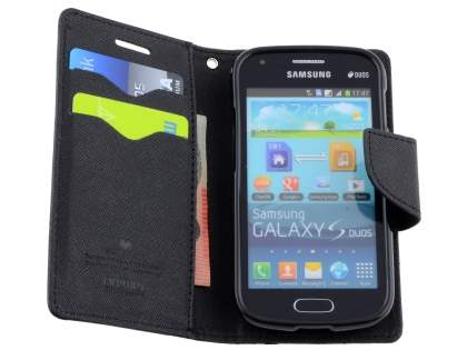 Mercury Colour Fancy Diary Case with Stand for Samsung Galaxy Trend Plus S7583T - Classic Black