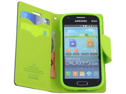 Mercury Colour Fancy Diary Case with Stand for Samsung Galaxy Trend Plus S7583T - Navy/Lime