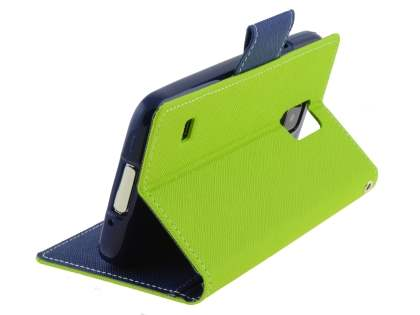 Mercury Goospery Colour Fancy Diary Case with Stand for Samsung Galaxy S5 - Lime/Navy