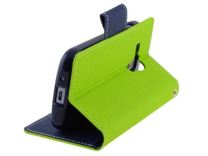 Mercury Goospery Colour Fancy Diary Case with Stand for Samsung Galaxy Trend Plus S7583T - Lime/Navy