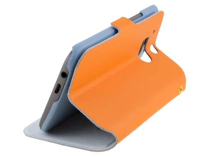 Slim Genuine Leather Portfolio Case for HTC One M8 - Orange
