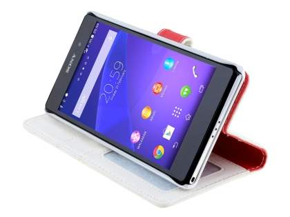 Synthetic Leather Wallet Case with Stand for Sony Xperia Z2 - Pearl White