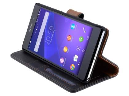 Synthetic Leather Wallet Case with Stand for Sony Xperia Z2 - Classic Black