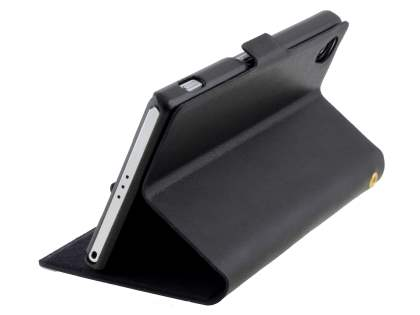 Sony Xperia Z2 Slim Genuine Leather Portfolio Case - Classic Black