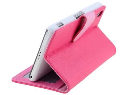 Sony Xperia Z2 Slim Synthetic Leather Wallet Case with Stand - Hot Pink