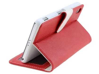 Sony Xperia Z2 Slim Synthetic Leather Wallet Case with Stand - Red