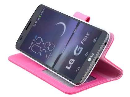 LG G Flex Slim Synthetic Leather Wallet Case with Stand - Pink